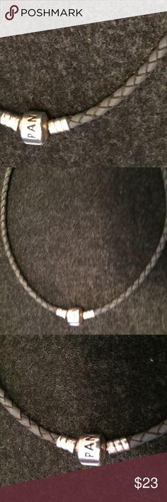 """Pandora Gray Double Leather Bracelet Pandora Gray Double Leather Bracelet.  Approx.  13 3/4"""" Pandora Jewelry Bracelets"""