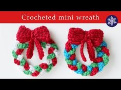 Crochet a mini wreath decoration for your Christmas tree. Step by step instructions for creating crochet Christmas ornament. Easy crochet, suitable for beginner crocheters.VIDEO TUTORIAL - Crochet mini Christmas wreath decoration ~ these are so cute Crochet Christmas Wreath, Christmas Yarn, Crochet Wreath, Crochet Christmas Decorations, Crochet Decoration, Crochet Ornaments, Christmas Crochet Patterns, Christmas Knitting, Christmas Tree Ornaments