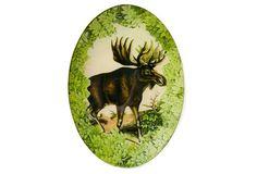 Hand-Decoupaged Woodland Moose Tray by Twigs and Moss | glass | decoupaged by hand and signed by the artist | 7 x 9 | 59.00
