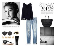 """Straw Bags"" by nmkratz ❤ liked on Polyvore featuring rag & bone, MANGO, Sole Society, Saachi, Illesteva, Maison Margiela, Bobbi Brown Cosmetics, Sensi Studio, Summer and trend"