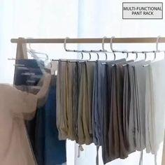 Bedroom Closet Design, Closet Designs, Organizar Closets, Pants Rack, Closet Storage, Storage Rack, Storage Ideas, Scarf Storage, Closet Layout