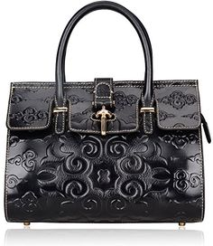 Pijushi Classic Ladies Embossed Floral Leather Tote Satchel Top Handle Handbags