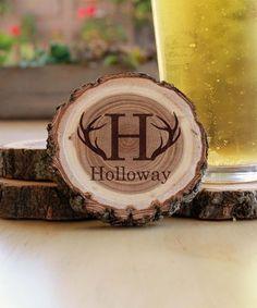 Etchey Personalized Initial Coaster - Set of Four Log Slices, Wildlife Decor, Coaster Set, Initials, Invitations, Surface, Ship, Note, Studio