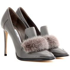 Jimmy Choo Lyza 110 Fur-Trimmed Patent Leather Pumps ($840) ❤ liked on Polyvore featuring shoes, pumps, grey, jimmy choo pumps, gray pumps, patent pumps, gray patent leather pumps and grey shoes