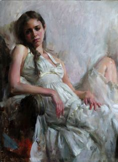 """Gaze"" - Mary Qian {contemporary figurative art impressionist female reclining woman painting} maryqian.com"