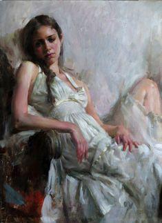 """Gaze"" - Mary Qian {contemporary figurative art impressionist female reclining woman painting} maryqian.com"