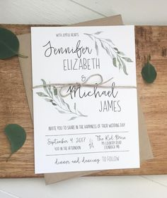 Rustic Wedding Invitation, Modern Wedding Invitation #weddinginvitation