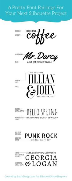 Tip for Perfectly Pairing Fonts for Your Silhouette Projects (And 6 Perfect Matches) - Silhouette Cameo, Silhouette projects, font pairing, Silhouette tip - Silhouette Fonts, Silhouette Projects, Silhouette Machine, Silouette Cameo Projects, Silhouette School Blog, Pretty Fonts, Cool Fonts, Fun Fonts, Fonts For Logos