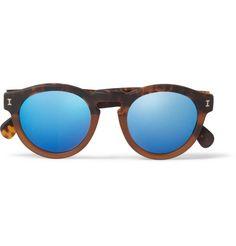 d84ecda5808 Illesteva Leonard Round-Frame Acetate Mirrored Sunglasses
