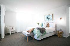 Totally want this Sycon Stria cladding on my master bedroom wall! Calm coastal bedroom with a slight Scandinavian feel <3 Three Birds Renos