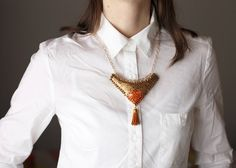 Necklace Gold Sequin Triangle Embroidered felt Tassel by velanch, $38.00