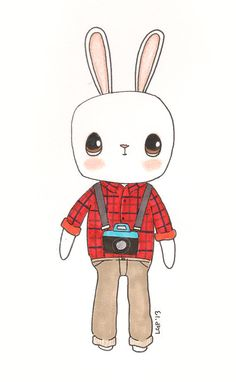 Hipster Bunny Illustration Cute Kawaii Vintage by BraveMoonman, $19.00