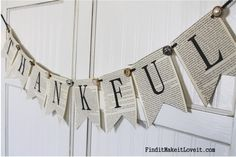 THANKFUL Banner, Free Printable - Find it, Make it, Love it