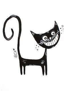 #Grinsekatze: Schwarze #Katze im #Glück. #Kunst von Clarissa Hagenmeyer - www.clarissa-hagenmeyer.de