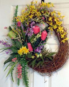 Spring Grapevine Wreath, Spring Summer Wreath, Tulip Wreath, Pink ...