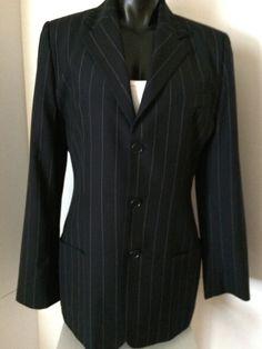 Ralph Lauren Womens Blue Pinstripe Blazer Suit Jacket Size 12 Long Sleeve Wool   #RalphLauren #Blazer