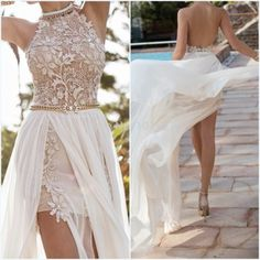 Hot Julie Vino Halter Lace Sexy High Slit Open Back Beach Long Train Prom Dress Party Evening Elegant Special Occasion Dresses