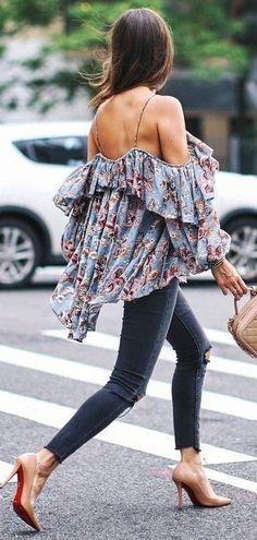 #summer #trends #outfits |  Floral Off The Shoulder Top + Denim
