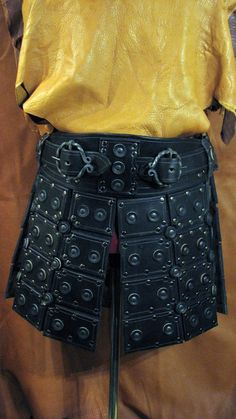 War Skirt in heavy black bridle leather by LederherrDesignGroup