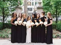 Classic black bridesmaids' dresses. Photography : Bonnie Sen Read More on SMP: http://www.stylemepretty.com/2016/08/26/st-regis-washington-dc-ballroom-real-wedding/