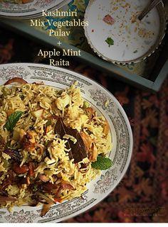 Kashmiri Mix Vegetables Pulav n' Apple Mint Raita