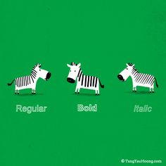 Regular, Bold and Italic.