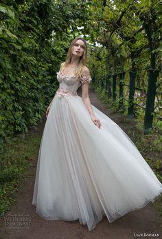lian rokman 2018 bridal off the shoulder sweetheart neckline heavily embellished bodice bustier romantic princess pink ball gown a  line wedding dress open v back sweep train (1) mv