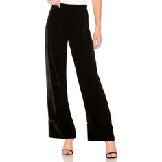 Michael Lo Sordo Wide Leg Relaxed Trouser (746 AUD) ❤ liked on Polyvore featuring pants, relaxed pants, elastic waistband pants, velvet wide leg pants, velvet pants and stretch waist pants