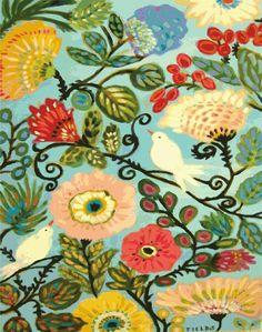 Style Cottage Bohème oiseaux fleurs Art Print - 8,5 x 11 par Karen champs