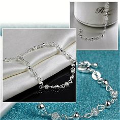 """LOW STOCK!  Intrequet & Lovely 8"""" in 925 Solid Sterling Silver Exquisite Filigree Beaded Chain Claw Clasp Ankle or Wrist BRACELET Or ANKLET w/ Filigree Flowered Round Beads Woman Ladies Girls Jewelry Makes Great Gift Idea! Retail Value $415.00. Starting at $1"""