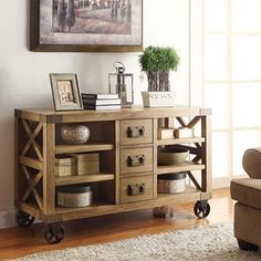 Spencer Console with Deep Shelves, Dovetailed Drawers, Ample Storage - $399
