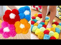 TAPETE DE POMPOM DE FLORES FÁCIL | IDER ALVES - YouTube Colchas Country, Country Quilts, Rag Rug Diy, Easy Crafts For Teens, Diy Room Decor, Sewing Crafts, Projects To Try, Kids Rugs, Embroidery