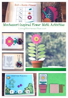 Lots of free flower printables and Montessori-inspired flower math activities for classroom or home. Perfect for spring themes for preschool through early elementary - Living Montessori Now Montessori Education, Montessori Classroom, Montessori Toddler, Montessori Materials, Montessori Activities, Homeschool Math, Homeschooling, Preschool Garden, Preschool Themes