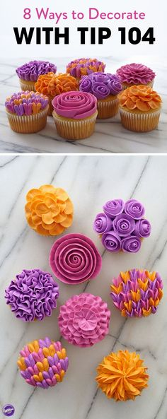 Looking to up your cupcake decorating game?  Use Wilton tip 104 to transform a plain batch of cupcakes into a vivid bouquet. The colors burst to life when you tint icing in spectacular spring shades using the Color Right Performance Color System.
