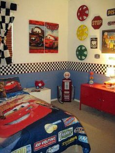 Marvelous Boys Bedroom Ideas That Will Inspire You - HARP POST Boys Cars Route 66 Room, This room was inspired by my sons love of Disney Cars and the great Lightning McQueen. I mixed his desires with a vintage Route 66 garage feel. Boy Toddler Bedroom, Big Boy Bedrooms, Toddler Rooms, Baby Boy Rooms, Kids Bedroom, Car Bedroom Ideas For Boys, Kids Rooms, Room Kids, Boys Bedroom Cars
