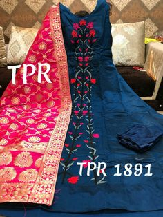 Silk chanderi embroidered panel stitch gown wd stitchd bottom  Wd silk banarsi duppta  Size 40+2   MRP 3100+$  TPR 1891 Order what's app 7093235052