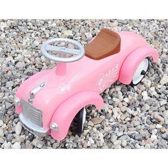 Magni - Gåbil i metal pink m. hjerter/Ride-on-vehicle pink w. hearts Magni - ImageToys