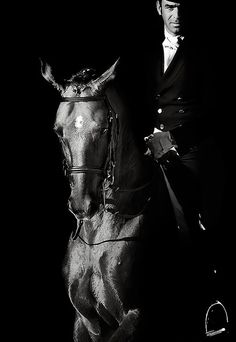 black and white equestrian riding