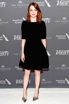 12 November Emma Stone looked chic in a simple black dress with grey heels for a Variety event in Los Angeles.