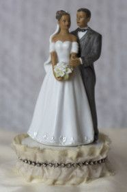 Antique Silk and Rhinestones African American Bride and Groom Wedding Cake Topper.