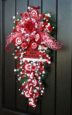 "Christmas Wreath Winter Wreath Holiday Vertical Teardrop Swag Door Decor ""I… Christmas Swags, Christmas Door, Deco Mesh Wreaths, Holiday Wreaths, All Things Christmas, Christmas Holidays, Ribbon Wreaths, Yarn Wreaths, Winter Wreaths"