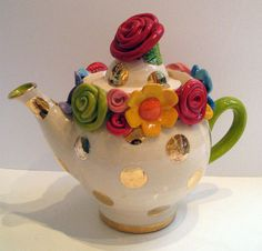 Tiny Encrusted Floral Spotty Teapot ART5 Gallery Mary Rose Young
