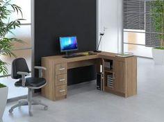 Mesa para Computador/Escrivaninha Espanha - 2 Portas 3 Gavetas - Politorno 117642 CASTANHO