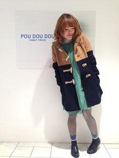 POU DOU DOU 池袋P'パルコ店|おかむらさんのダッフルコート「バイカラーダッフルコート(POU DOU DOU|プードゥドゥ)」を使ったコーディネート