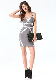 e00526b4c2f bebe Foil Trim Bandage Dress Club Dresses