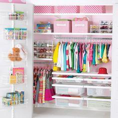 White elfa décor Girls Reach-In Closet