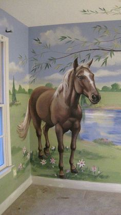 "Horse Mural Blessings ideas~""Old Fashion Vintage Farm House""~"