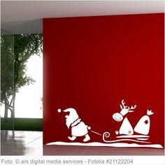 Wandtattoo Weihnachten - Santa Claus Rentierschlitten