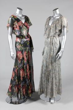 1930s Evening Gowns made of chiffon