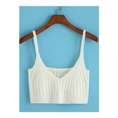SheIn(sheinside) Spaghetti Strap Crop White Cami Top (€11) ❤ liked on Polyvore featuring tops, white, camisoles & tank tops, crop tank top, white camisole, summer tank tops and white cami
